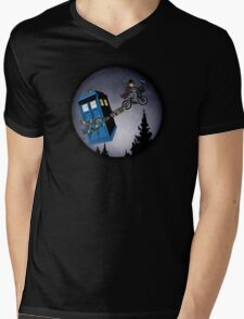 Fourth Doctor Fly With Bicycle Mens V-Neck T-Shirt