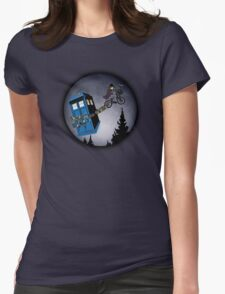 Fourth Doctor Fly With Bicycle Womens Fitted T-Shirt