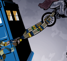 Fourth Doctor Fly With Bicycle Sticker