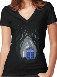 Space And Time traveller Box lost in the woods Women's Fitted V-Neck T-Shirt