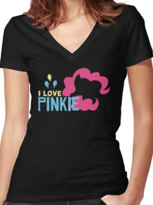 I LOVE PINKIE PIE Women's Fitted V-Neck T-Shirt