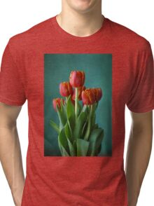 Red and green study of tulips Tri-blend T-Shirt