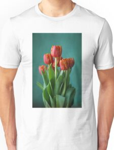 Red and green study of tulips Unisex T-Shirt