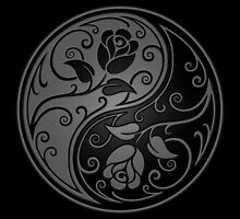 Gray and Black Yin Yang Roses by Jeff Bartels