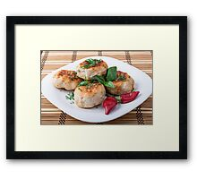 Plate with fried meatballs minced chicken with red pepper Framed Print