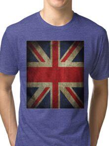 Antique Faded Union Jack UK British Flag Tri-blend T-Shirt
