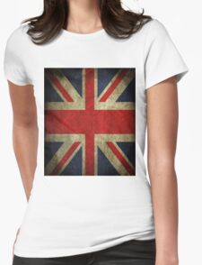 Antique Faded Union Jack UK British Flag Womens Fitted T-Shirt
