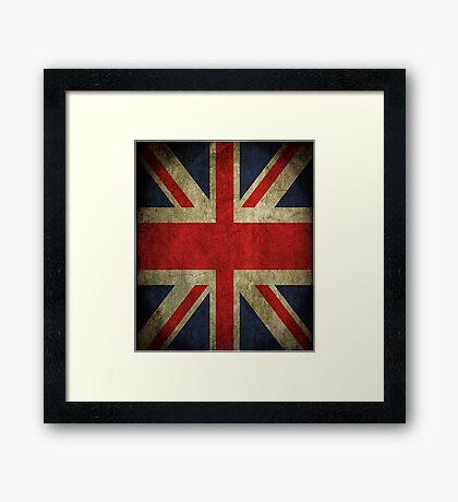 Antique Faded Union Jack UK British Flag Framed Print