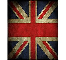 Antique Faded Union Jack UK British Flag Photographic Print