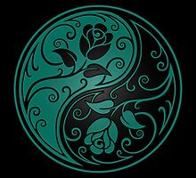 Teal Blue and Black Yin Yang Roses by Jeff Bartels