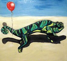 Gecko with Red Balloon by Adam Berardi