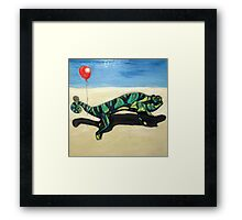 Gecko with Red Balloon Framed Print