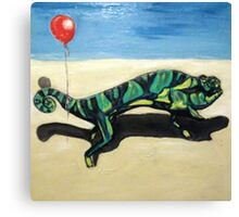 Gecko with Red Balloon Canvas Print
