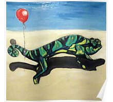 Gecko with Red Balloon Poster