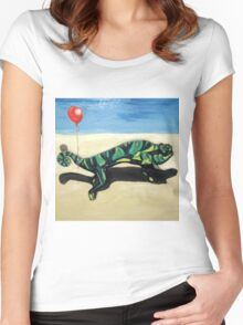 Gecko with Red Balloon Women's Fitted Scoop T-Shirt