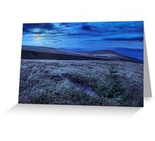 moon light on stone mountain slope with forest Greeting Card