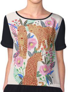 Leopard Idea, leopard print, animal print, flower print Chiffon Top