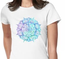 Iridescent Aqua and Purple Watercolor Mandala  Womens Fitted T-Shirt