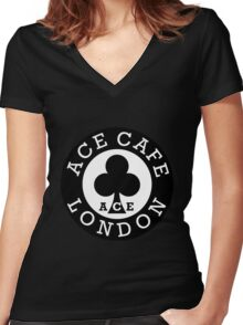 ace cafe london Women's Fitted V-Neck T-Shirt