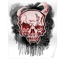 Red Demon Skull Poster
