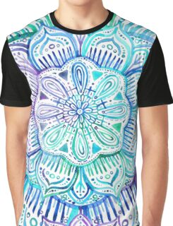 Iridescent Aqua and Purple Watercolor Mandala  Graphic T-Shirt