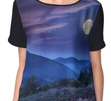 forest on a steep mountain slope Chiffon Top