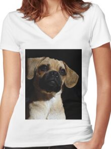 Puggle Dog Portrait   Women's Fitted V-Neck T-Shirt