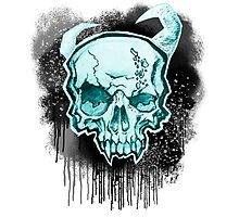 Blue Demon Skull Photographic Print