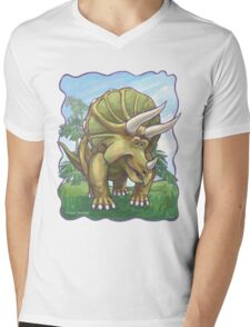 Animal Parade Triceratops Mens V-Neck T-Shirt