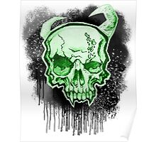 Green Demon Skull Poster