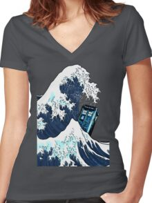 Space And Time traveller Box Vs The great wave Women's Fitted V-Neck T-Shirt