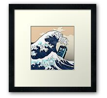 Space And Time traveller Box Vs The great wave Framed Print
