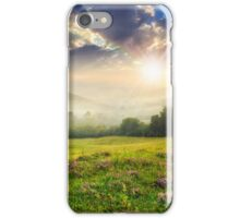 cold fog in mountains on forest at sunset iPhone Case/Skin