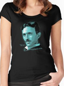 Nikola Tesla Portrait Science Electrical Women's Fitted Scoop T-Shirt