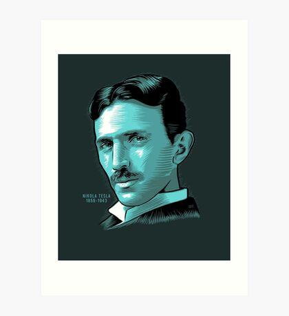 Nikola Tesla Portrait Science Electrical Art Print