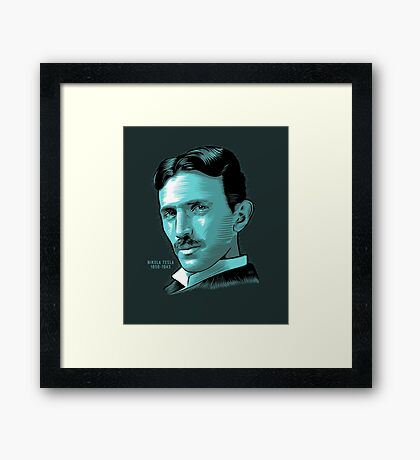 Nikola Tesla Portrait Science Electrical Framed Print