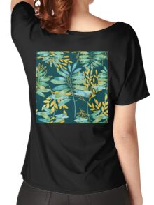 Golden Summer Leaves teal, gold nature pattern Women's Relaxed Fit T-Shirt