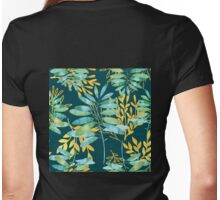 Golden Summer Leaves teal, gold nature pattern Womens Fitted T-Shirt