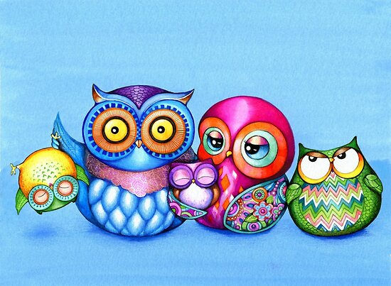 Funny Owl Family Portrait by Annya Kai