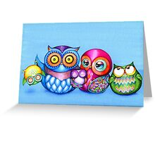 Funny Owl Family Portrait Greeting Card