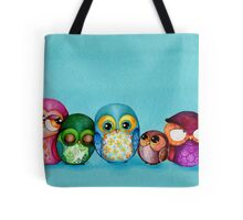 Fabric Owl Family Tote Bag