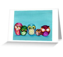 Fabric Owl Family Greeting Card