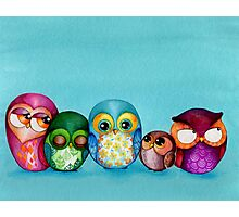 Fabric Owl Family Photographic Print
