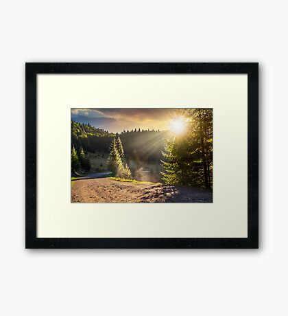 mountain road near the coniferous forest with cloudy morning sky Framed Print
