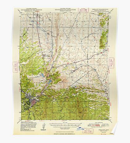 USGS TOPO Map Arizona AZ Prescott 314928 1948 62500 Poster