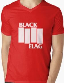 Black Flag Band Mens V-Neck T-Shirt