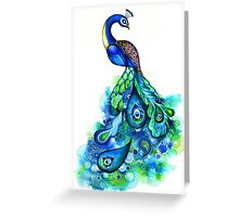 Peacock Watercolor Greeting Card