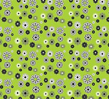 Flower Power Groovy in Green by dbvisualarts