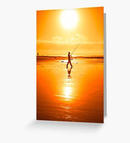 lone fisherman fishing on the Kerry beach Greeting Card