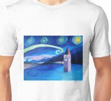 Sternennacht am Vierwaldstättersee in der Schweiz mit versunkener Stadt Unisex T-Shirt
